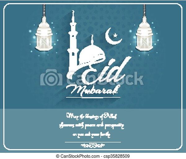Eid mubarak background with mosque - csp35828509