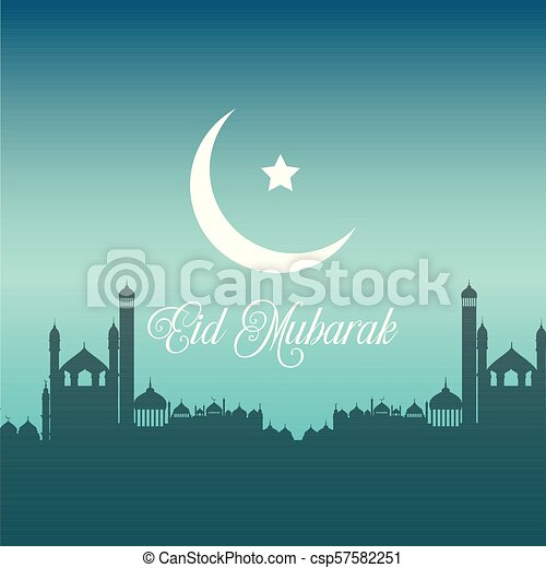 Eid Mubarak background with silhouettes of mosques - csp57582251