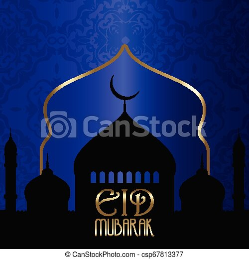 Eid Mubarak background with silhouettes of mosques - csp67813377