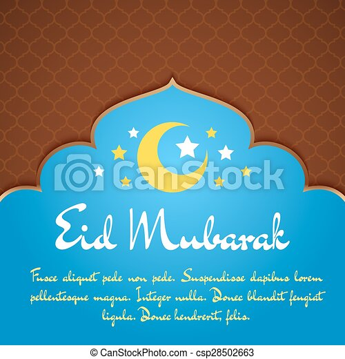 Eid mubarak greeting card with traditional pattern and crescent eid mubarak greeting card csp28502663 m4hsunfo