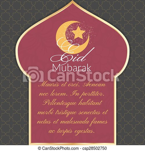 Eid mubarak greeting card with silhouette of a mosque and clipart eid mubarak greeting card csp28502750 m4hsunfo