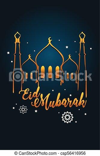 A vector illustration of eid mubarak greeting card design eid mubarak greeting card design csp56416956 m4hsunfo