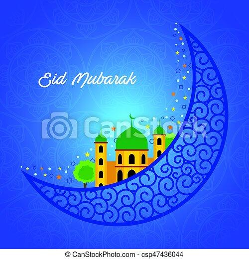 a vector illustration of eid mubarak greeting card design