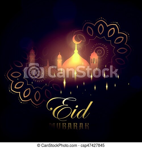 Eid mubarak greeting card design with glowing mosque and mandala eid mubarak greeting card design with glowing mosque and mandala decoration csp47427845 m4hsunfo
