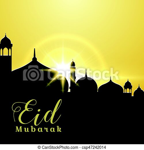 Eid mubarak greeting card design with mosque and rising sun vector eid mubarak greeting card design with mosque and rising sun csp47242014 m4hsunfo
