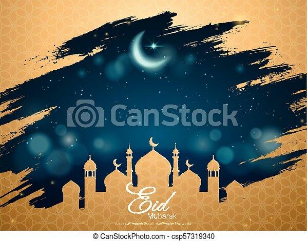Eid mubarak greeting card eid mubarak card with golden mosque frame eid mubarak greeting card csp57319340 m4hsunfo
