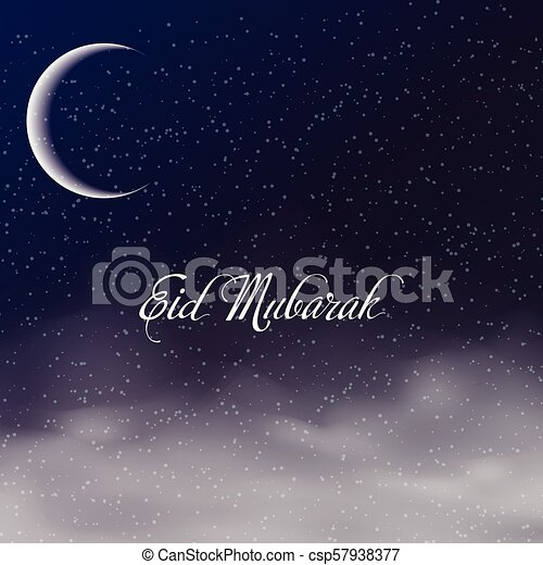 Eid mubarak greeting card with crescent and clouds in sky vector eid mubarak greeting card with crescent and clouds in sky vector m4hsunfo
