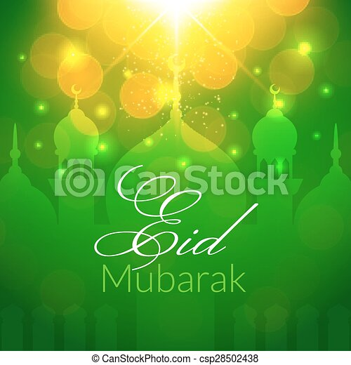 Eid mubarak greeting card with mosque and lights vector vectors eid mubarak greeting card with mosque csp28502438 m4hsunfo