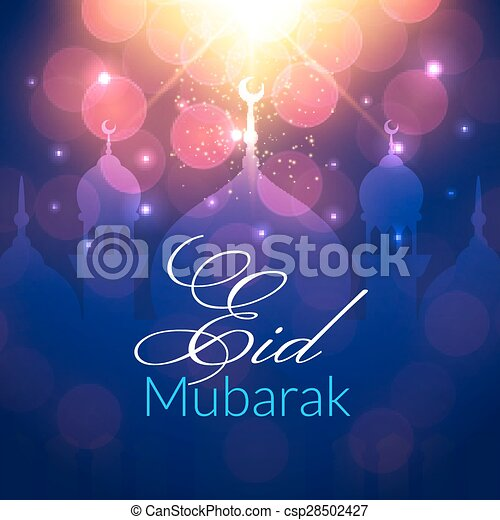 Eid mubarak greeting card with mosque and lights vector festive eid mubarak greeting card with mosque csp28502427 m4hsunfo