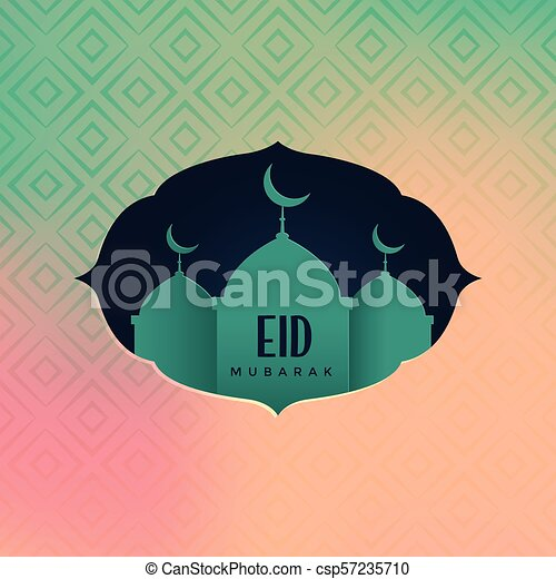 eid mubarak greeting with mosque silhouette - csp57235710