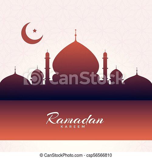 eid mubarak mosque silhouette background - csp56566810