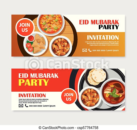 Eid Mubarak Party Invitations Greeting Card And Banner With Food Background Ramadan Kareem Vector Illustration Use For Cover Poster Flyer