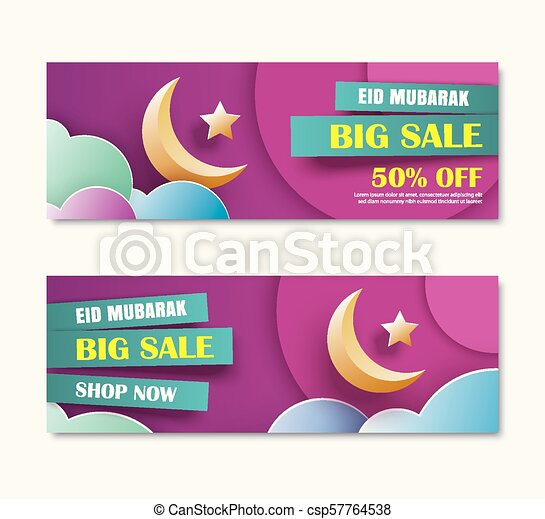 Eid Mubarak Sale Banner With Crescent Moon Paper Art Background Ramadan Kareem Template Use For Invitations Greeting Card Poster Flyer Brochure