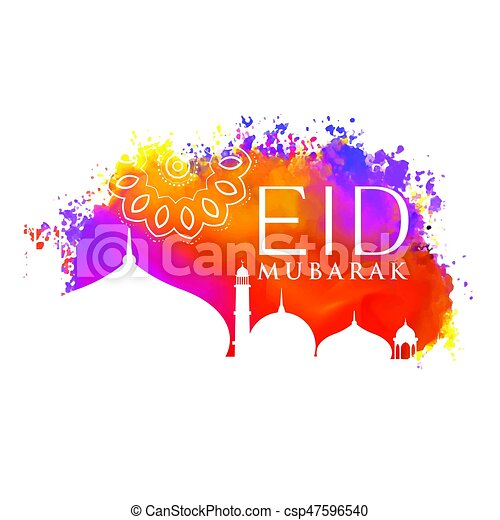 eid mubarak watercolor background with mosque silhouette - csp47596540
