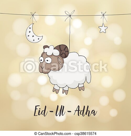 Eid ul adha greeting card decoration with hand drawn sheep eid ul adha greeting card decoration with hand drawn sheep moon m4hsunfo Gallery
