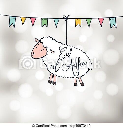 Eid ul adha greeting card with hand drawn sheep and party flags eid ul adha greeting card with hand drawn sheep and party flags muslim community festival of m4hsunfo