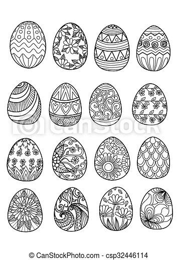 Eier, färbung, ostern, buch Vektor Clipart - Suchen Sie Illustration ...