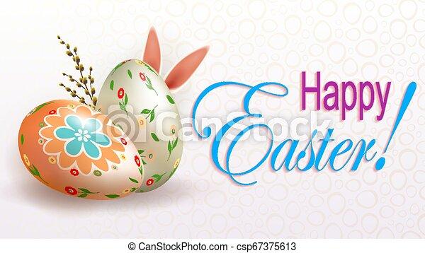 Osterlichtkomposition mit einer Silhouette von Eiern, Hasenohren und Weidenzweig - csp67375613