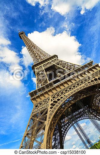 Eiffel Tour or Tower landmark. Wide angle view. Paris, France - csp15038100