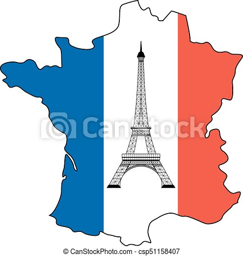 Map Of France Eiffel Tower.Eiffel Tower And Flag Of France