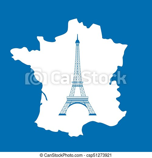 Map Of France Eiffel Tower.Eiffel Tower And Map On Blue
