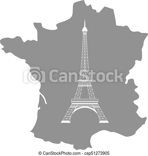 Map Of France Eiffel Tower.Eiffel Tower And Map On White