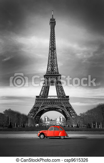 Eiffel Tower and old red car - Paris - csp9615326
