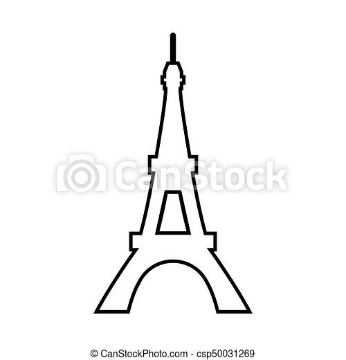 Vector Eiffel Tower Black Color Icon