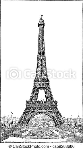 Eiffel Tower, brought up by the engineer Gustave Eiffel, vintage engraving. - csp9283686