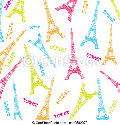 Cute Eiffel Tower Over White Background Vector Illustration Eps