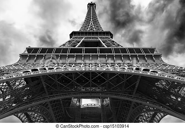 Eiffel tower from the bottom - csp15103914