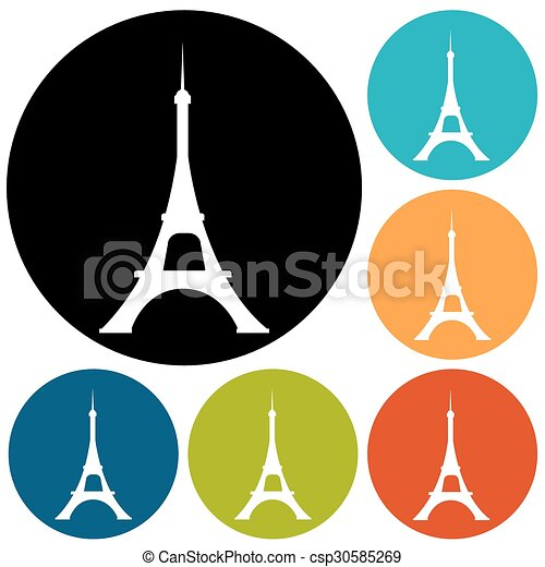 Eiffel tower icon - csp30585269