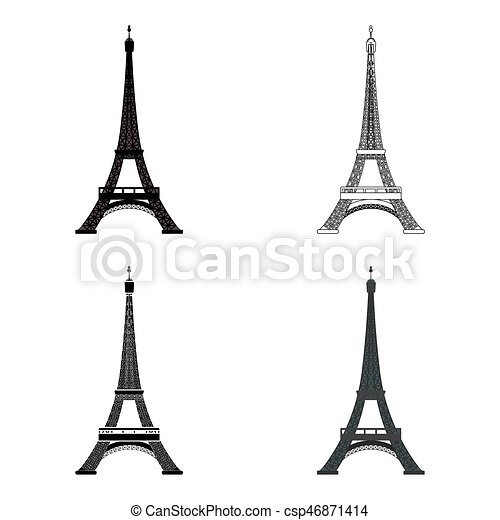 Eiffel tower icon in cartoon style isolated on white ...
