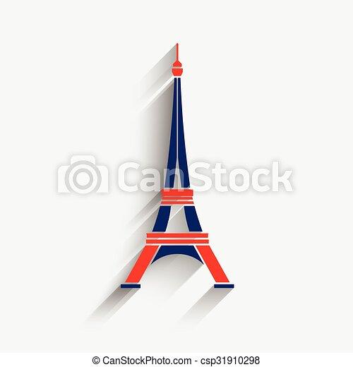 Vector Eiffel Tower In Patriotic Colors