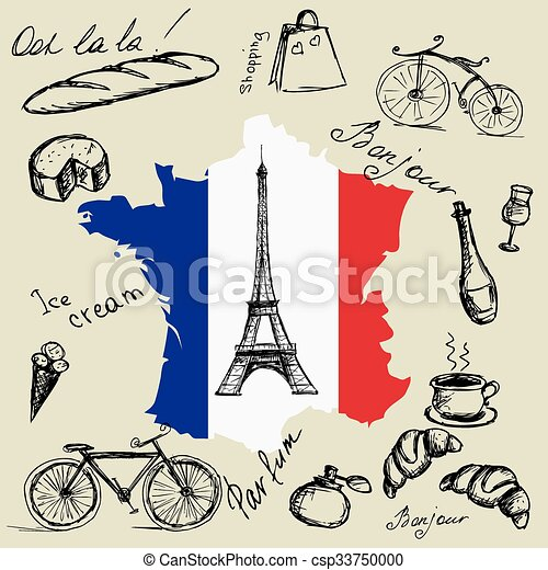 Map Of France Eiffel Tower.Eiffel Tower Map And Flag Of France And The Main Symbols Of The Country