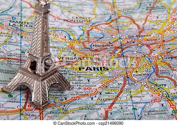 Eiffel Tower on a map of Paris - csp21496090