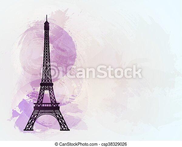 Eiffel tower on background of france flag. vector illustration.