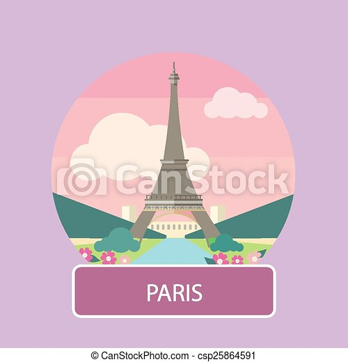 Eiffel Tower Paris France Poster Concept In Cartoon Style With Text