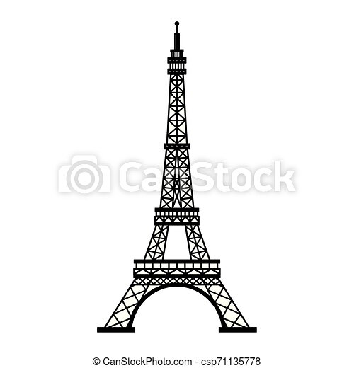 Eiffel Tower Paris Monument Isolated In Black And White Eiffel Tower Paris Monument Isolated Vector Illustration Graphic