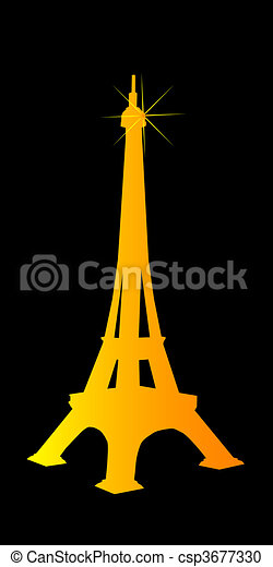 Eiffel Tower Golden Colour With A Spangle On Black Vector