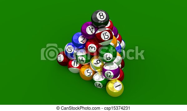 Eight Ball Pool Pyramid Constructed - csp15374231
