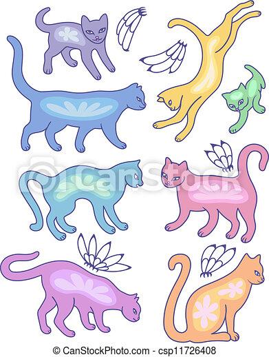 Eight cat silhouettes - csp11726408
