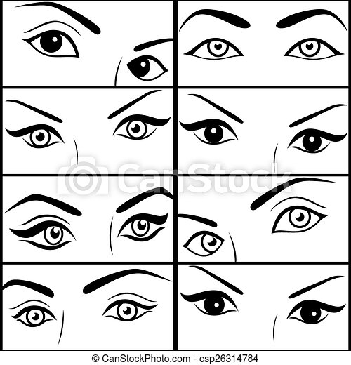 eight pairs of female eyes set of black vector outlines each