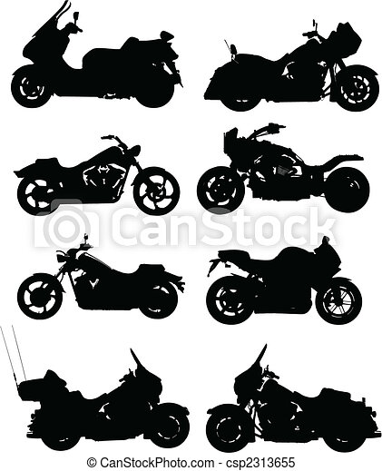 Eight vector illustrations of motorcycle. Vector. One click color change - csp2313655