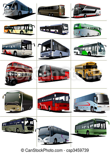 Eighteen City and Tourist buses. Vector illustration - csp3459739