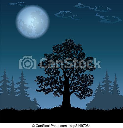 eik, landscape, maan - csp21497064