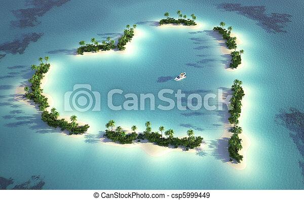 eiland, aanzicht, luchtopnames, hartvormig - csp5999449