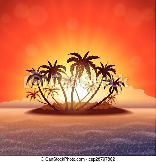 eiland, ondergaande zon , paradijs - csp28797862