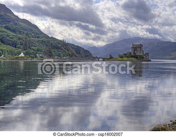 eilean donan castle scotland with reflection - csp16002007