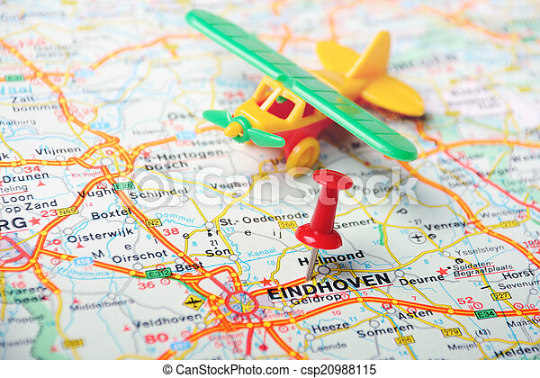 Eindhoven,holland map airplane. Close up of eindhoven , netherlands ...